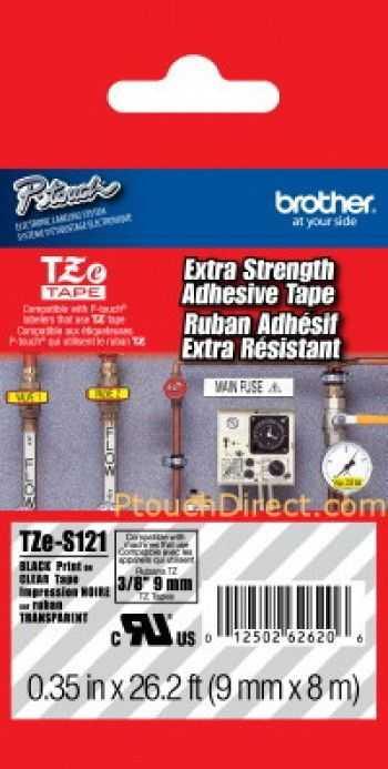 Banda laminata puternic adeziva TZES121 9mm/8m negru/transparent