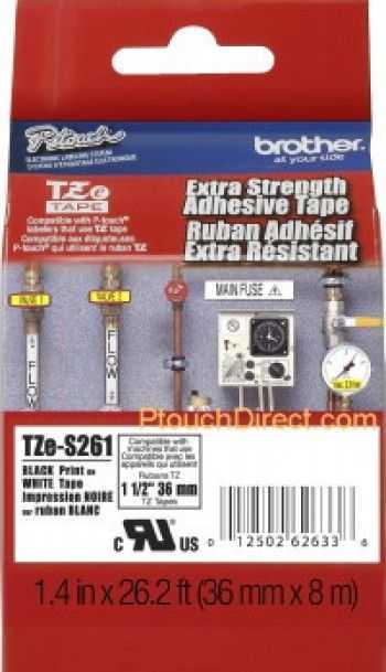 Banda laminata/puternic adeziva TZES261 36mm/8m negru/alb