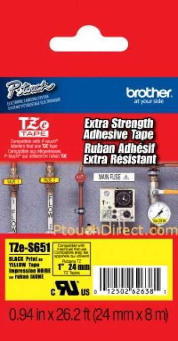 Banda laminata/puternic adeziva TZES651 24mm/8m negru/galben