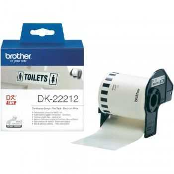 Brother DK-22212 Banda continua laminata 62 mm x 15, 24 m,  negru/alb