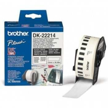 Brother DK-22214 Banda continua de hartie 12 mm x 30, 48 m,  negru/alb