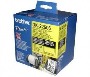 Brother DK-22606 Banda continua laminata 62 mm x 15, 24 m,  negru/galben