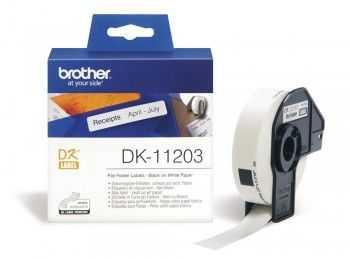 Brother DK11203 Etichete de hartie pentru dosare 17mm X 87mm Negru/Alb