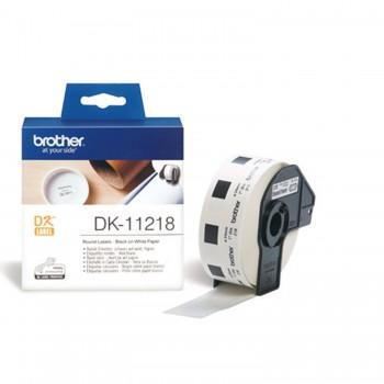 Brother DK11218 Etichete de Hartie Rotunde 24 mm x 24 mm,  Negru/Alb