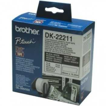 Brother DK22211 Banda continua laminata 29 mm x 15, 24 m,  negru/alb