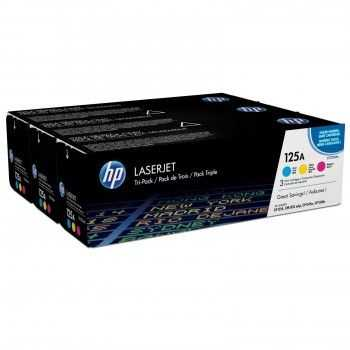 HP 125A CYM Tri-Pack LaserJet Toner Cartridge.