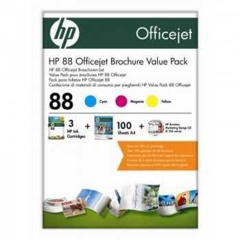 Pachet pentru brosuri HP nr 88 cartuse color si 100 coli carton de 180 grame/m2 A4