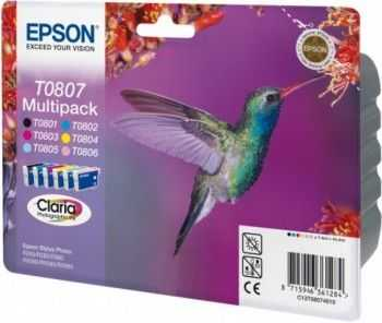 Set cartuse Epson T0801 802 803 804 805 806 color si black