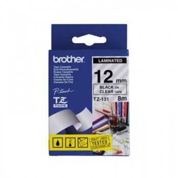 Tapes 12mm BK ON CLEAR ADHESIVE BROTHER